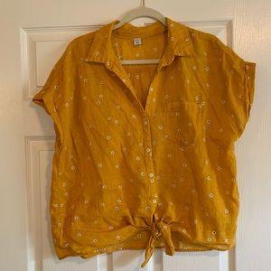 Daisy Print Tie Front Linen Blouse